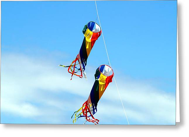 Kite Greeting Cards - KiteFlying5 Greeting Card by Robert Trauth