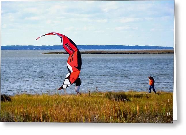 Kiteboarding Paintings Greeting Cards - Kitesurfers 2 Greeting Card by Lanjee Chee