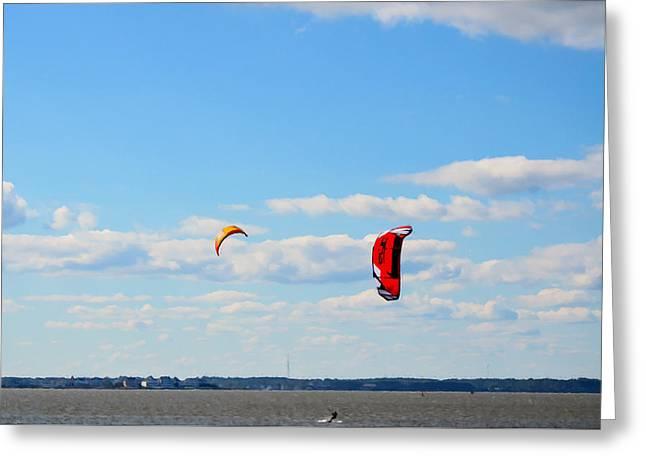 Kiteboarding Paintings Greeting Cards - Kitesurfers 7 Greeting Card by Lanjee Chee
