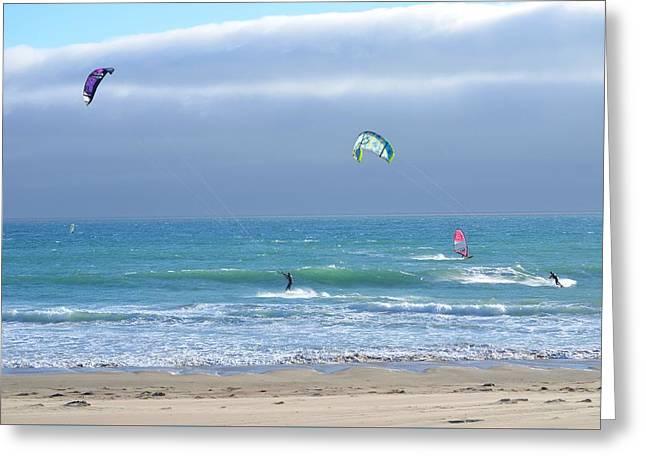 Kite Greeting Cards - Kitesurfing 514 Greeting Card by Remegio Dalisay
