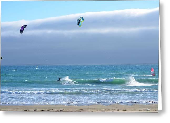 Kite Greeting Cards - Kitesurfing 515 Greeting Card by Remegio Dalisay