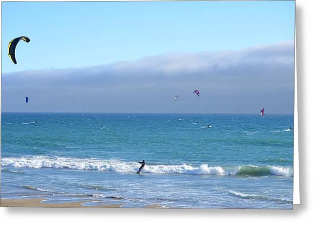 Kite Greeting Cards - Kitesurfing 519 Greeting Card by Remegio Dalisay