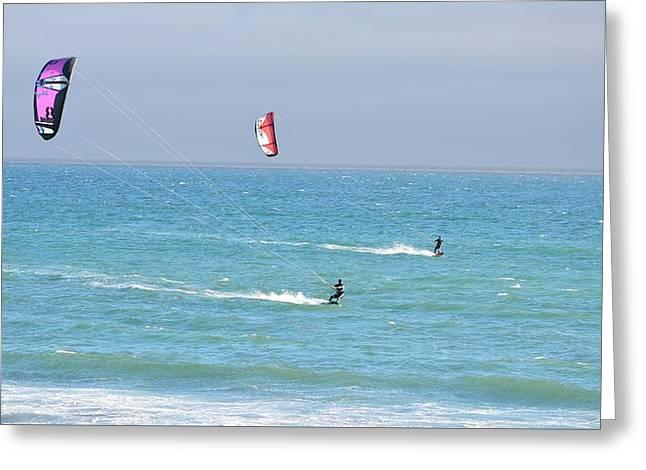 Kite Greeting Cards - Kitesurfing 524 Greeting Card by Remegio Dalisay