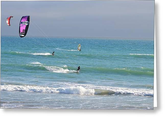 Kite Greeting Cards - Kitesurfing 527 Greeting Card by Remegio Dalisay