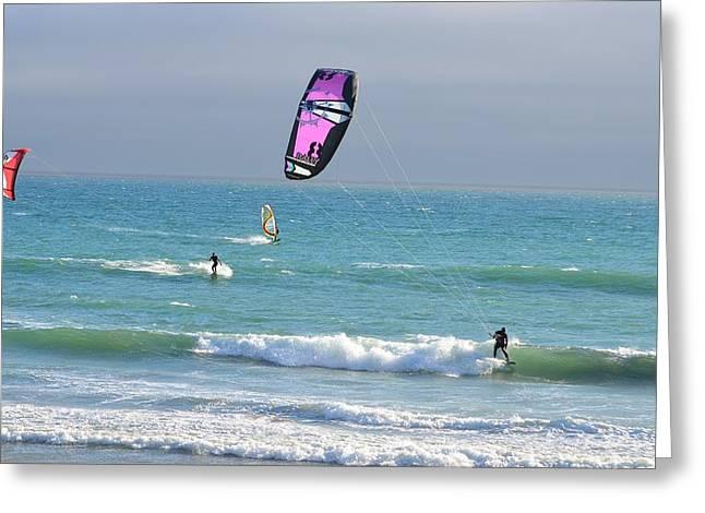 Kite Greeting Cards - Kitesurfing 529 Greeting Card by Remegio Dalisay