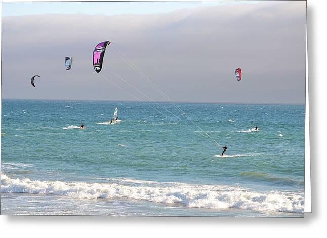 Kite Greeting Cards - Kitesurfing 558 Greeting Card by Remegio Dalisay