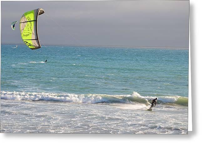 Kite Greeting Cards - Kitesurfing 564 Greeting Card by Remegio Dalisay