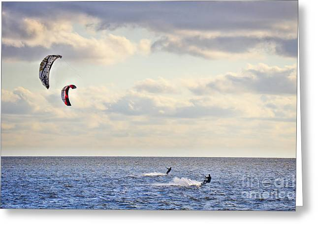 Kitesurfing Greeting Card by Angela Doelling AD DESIGN Photo and PhotoArt