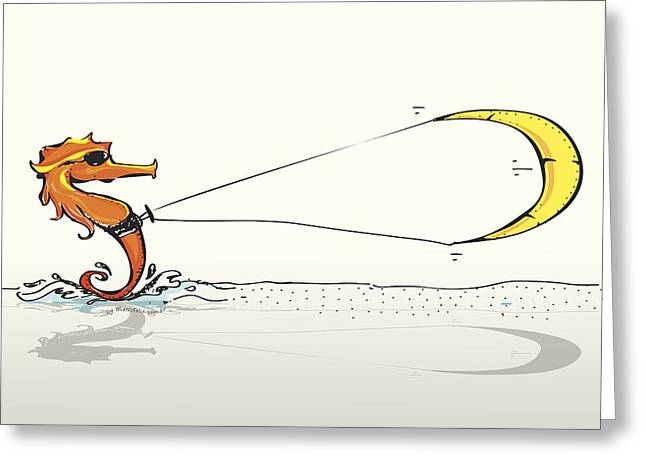 Sea Horse Greeting Cards - Kitesurfing Sea Horse  Greeting Card by Marco Felix