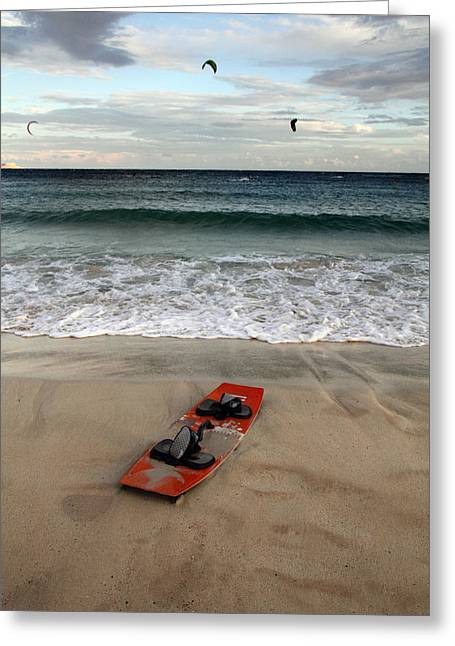 Enjoyment Greeting Cards - Kitesurfing Greeting Card by Stylianos Kleanthous