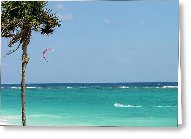 Kitesurfing the Caribbean Greeting Card by Keith Stokes