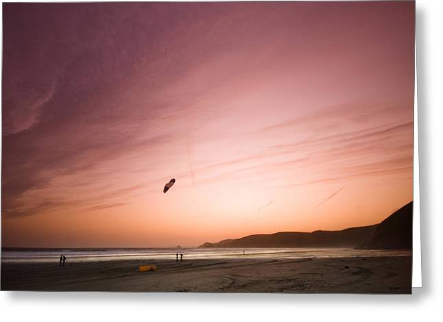 Kite Greeting Cards - Kiting in the sunset Greeting Card by Angel  Tarantella