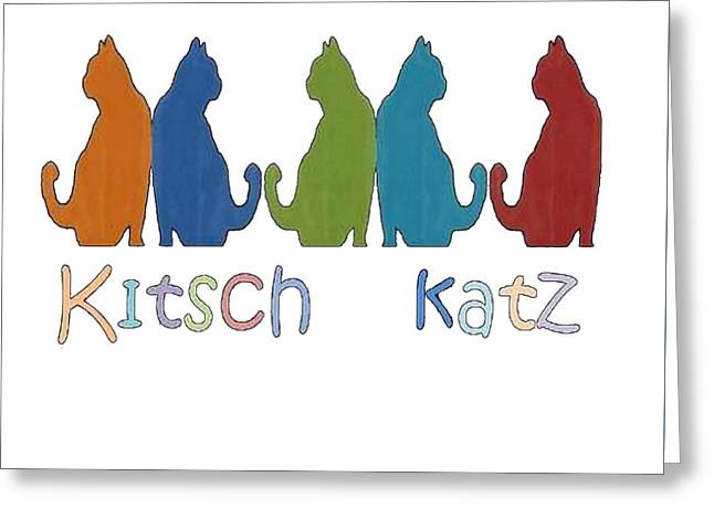 Owner Digital Art Greeting Cards - Kitsch Cats Silhouette Cat Collage Pattern Isolated Greeting Card by Tracey Harrington-Simpson
