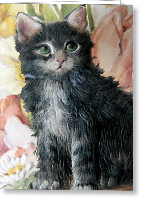 Floral Digital Art Digital Art Greeting Cards - Kitten And Floral Greeting Card by Florene Welebny
