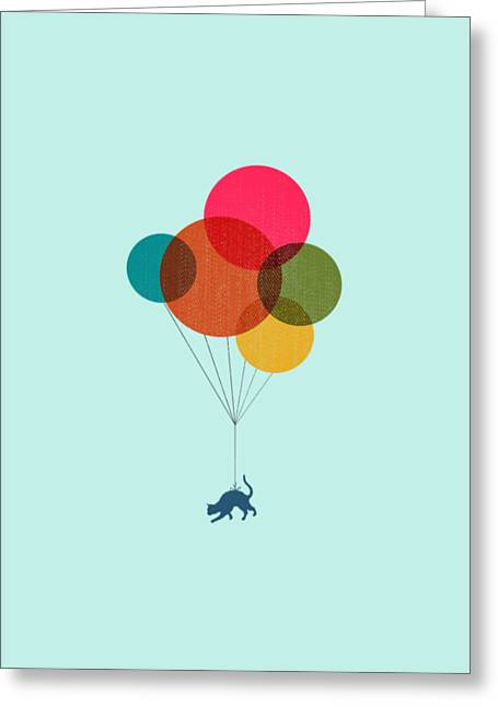 Kitten Baloon Trip Greeting Card by Illustratorial Pulse