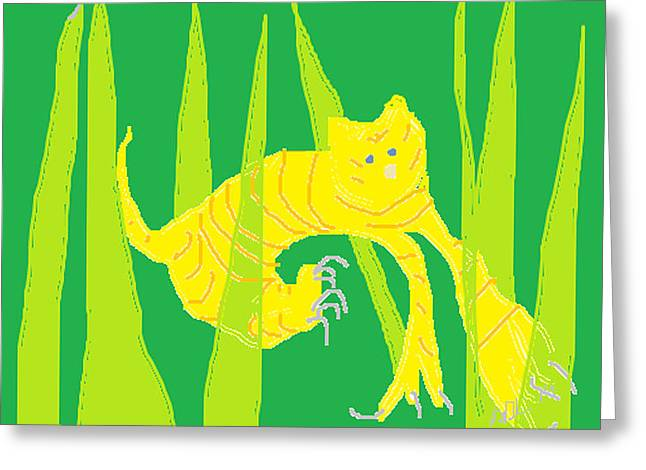 Abstract Digital Drawings Greeting Cards - Kitten in the Grass Greeting Card by Anita Dale Livaditis