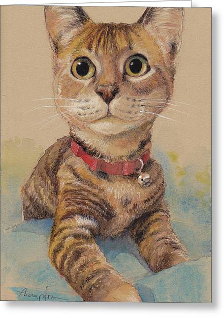 Kitten On The Loose Greeting Card by Tracie Thompson
