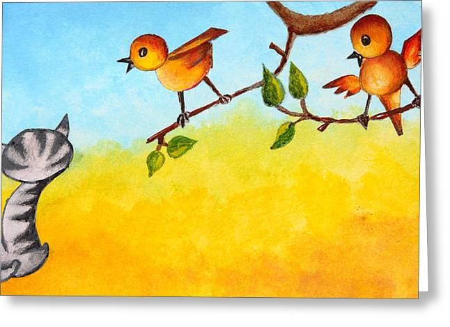 Cute Kitten Drawings Greeting Cards - Kitten scaring the birds Greeting Card by Nirdesha Munasinghe
