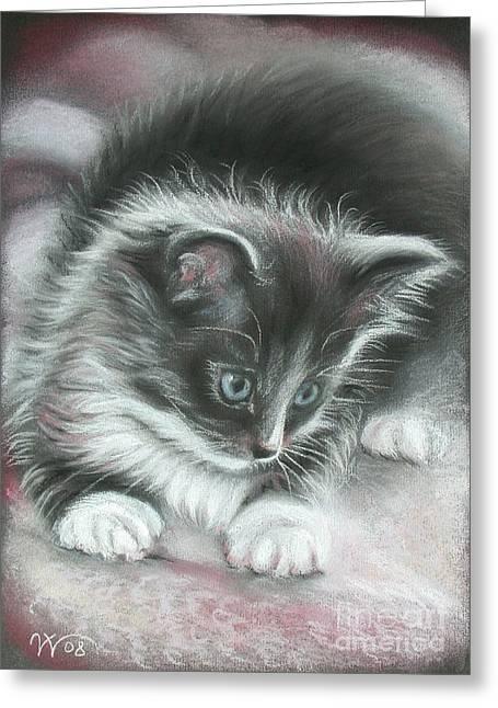 Kitten Pastel Kitten Greeting Cards - Kitten Greeting Card by Valentina Vassilieva