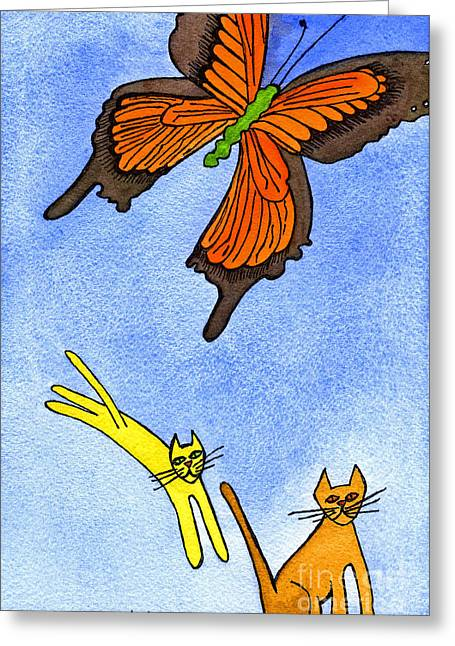 Appleton Art Greeting Cards - Kitties Chasing Butterfly Greeting Card by Norma Appleton
