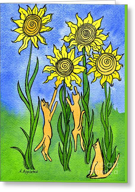Appleton Art Greeting Cards - Kitties Climbing Flowers Greeting Card by Norma Appleton