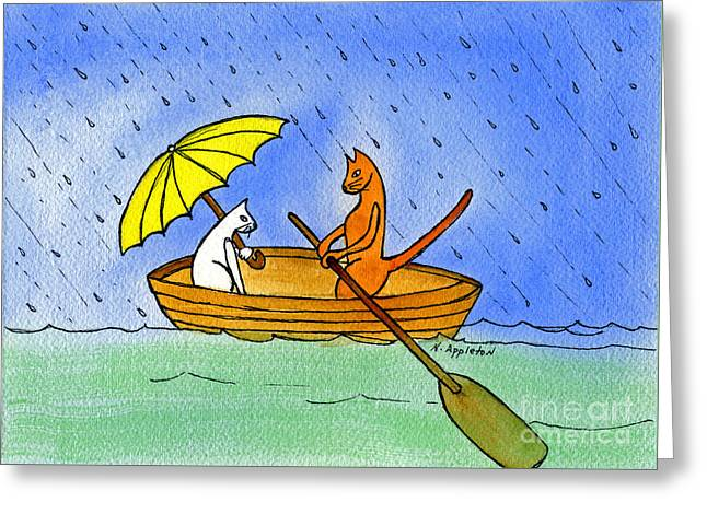 Appleton Art Greeting Cards - Kitties in a Boat Greeting Card by Norma Appleton
