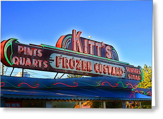 Northside Greeting Cards - Kitts Frozen Custard Stand Greeting Card by Geoff Strehlow