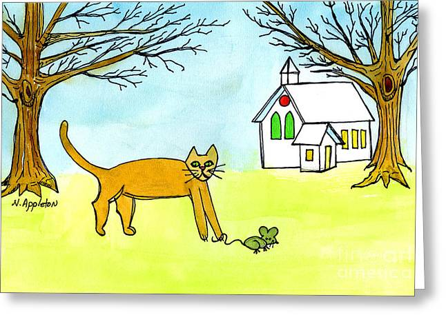 Appleton Paintings Greeting Cards - Kitty and the Mouse Greeting Card by Norma Appleton