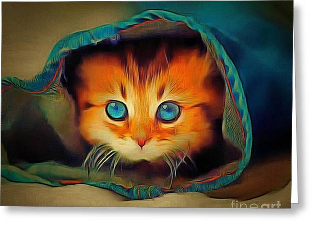 Kitty Britches Greeting Card by Catherine Lott