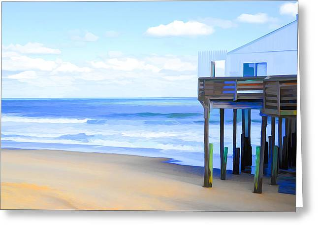 Surf Silhouette Paintings Greeting Cards - Kitty Hawk Pier 4 Greeting Card by Lanjee Chee
