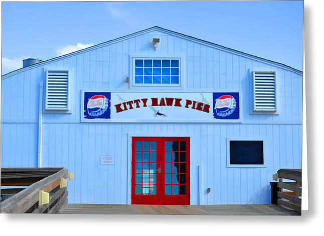 Surf Silhouette Paintings Greeting Cards - Kitty Hawk Pier 5 Greeting Card by Lanjee Chee