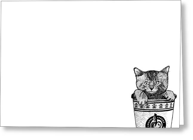 Kitty In A Coffee Cup Greeting Card by Karl Addison