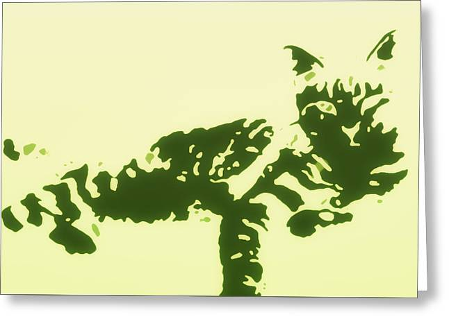 Kitten Prints Greeting Cards - Kitty in Green and Cream Greeting Card by Heather Joyce Morrill