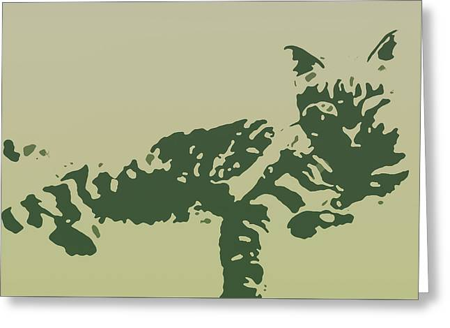 Kitten Prints Greeting Cards - Kitty in Military Greens Greeting Card by Heather Joyce Morrill