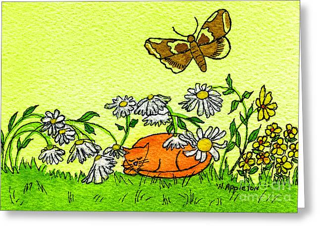 Kitty In The Garden Greeting Card by Norma Appleton