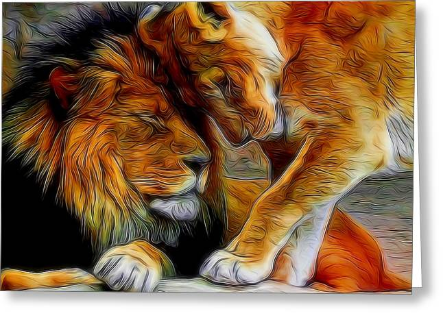 Wildcats Greeting Cards - Kitty Love Digital Art Greeting Card by Ernie Echols