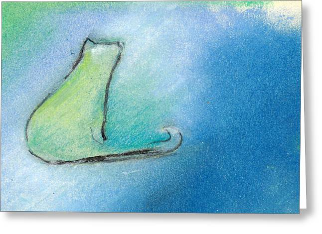 Meditate Pastels Greeting Cards - Kitty Reflects Greeting Card by Valerie Reeves