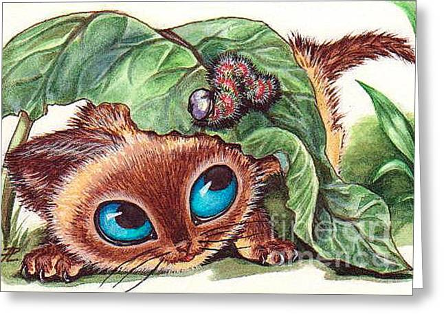 Puss Caterpillar Greeting Cards - Kitty Roby and Caterpillar Greeting Card by Larissa Prince