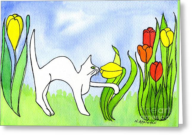 Kitty Sniffing Tulips Greeting Card by Norma Appleton