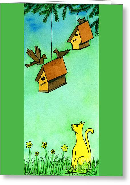 Appleton Art Greeting Cards - Kitty Watching Bird Houses Greeting Card by Norma Appleton