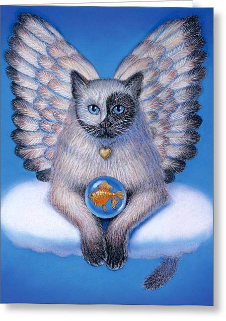 Yang Greeting Cards - Kitty Yin Yang- Cat Angel Greeting Card by Sue Halstenberg