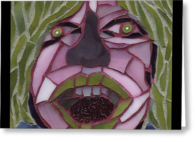 Emotions Glass Art Greeting Cards - Kiwi - Fantasy Face No. 10 Greeting Card by Gila Rayberg