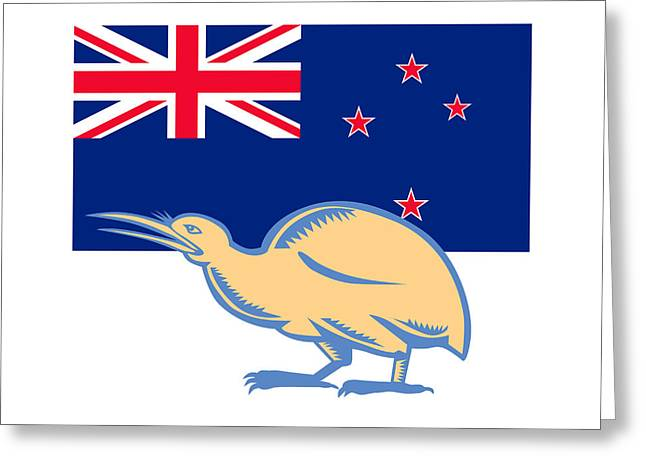 Kiwi Bird Nz Flag Woodcut Greeting Card by Aloysius Patrimonio