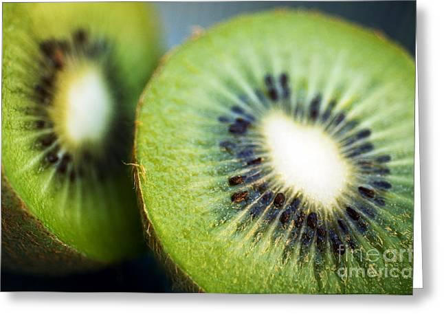 Kiwi Fruit Halves Greeting Card by Ray Laskowitz - Printscapes