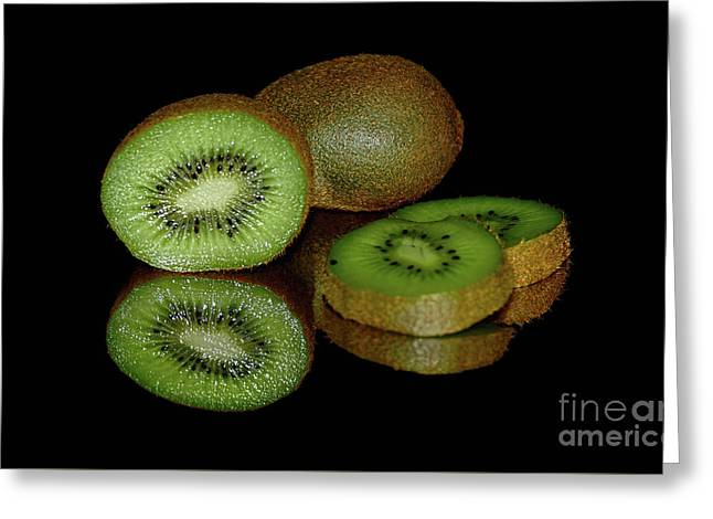 Kiwi Fruit Reflecting On Black By Kaye Menner Greeting Card by Kaye Menner