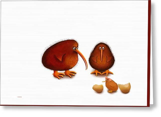 Baby Bird Digital Greeting Cards - Kiwi new baby girl Greeting Card by Marlene Watson