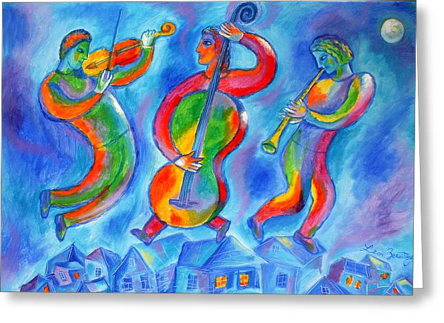 Klezmer On The Roof Greeting Card by Leon Zernitsky