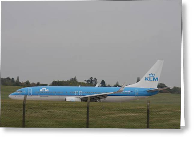 Klm Greeting Cards - KLM Airlines aeroplane  Greeting Card by Gillian Lovett