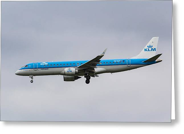 Klm Greeting Cards - KLM Embraer 190 Greeting Card by David Pyatt