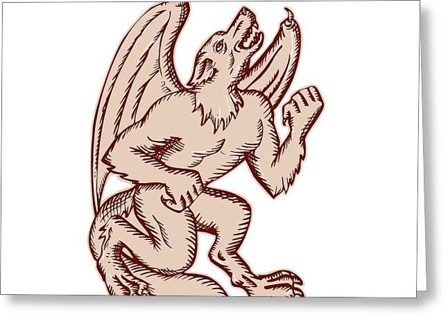 Bat Wings Greeting Cards - Kludde Black Dog Howling Etching Greeting Card by Aloysius Patrimonio